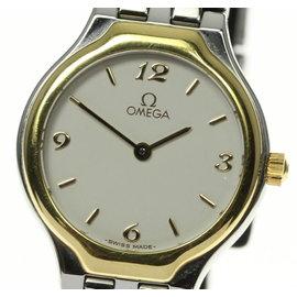 Omega Deville Stainless Steel and 18K Yellow Gold Bezel Quartz 23mm Womens Wrist Watch