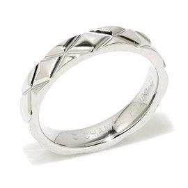 Chanel 950 Platinum Matelasse Ring Size 4