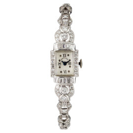 Hamilton Platinum Diamond Hand-Winding Vintage 14mm Womens Watch