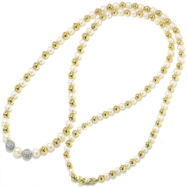"Image of ""Mikimoto 14K White & Yellow Gold Akoya Pearl Diamond Necklace"""