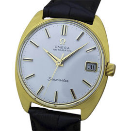 Omega Seamaster MX142 14K Yellow Gold / Leather Vintage 33mm Mens Watch
