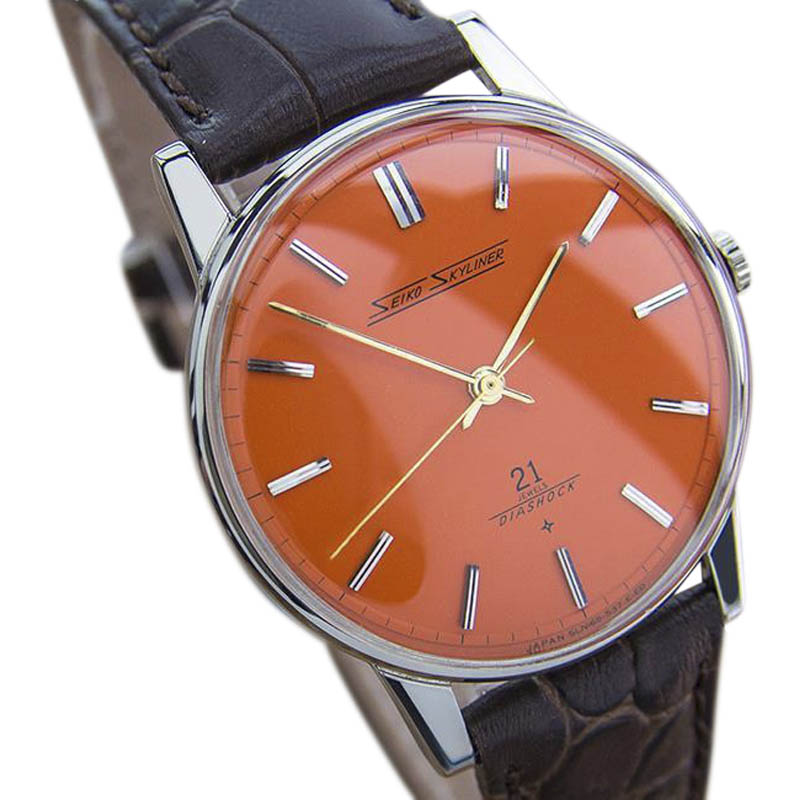 """Image of """"Seiko Skyliner Stainless Steel & Leather Manual 37mm Mens Watch"""""""