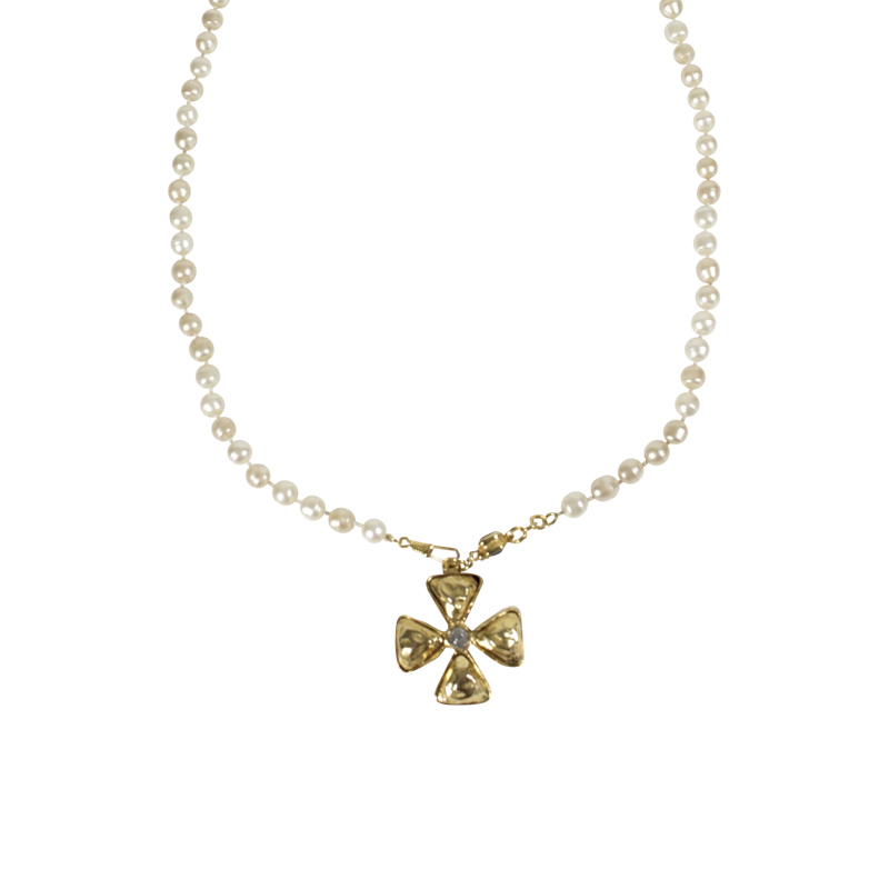"Image of ""Chanel Gold Tone Hardware Crystal Rhinestone Cross Charm Faux Pearl"""