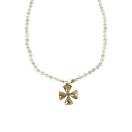 Chanel Gold Tone Hardware Crystal Rhinestone Cross Charm Faux Pearl Necklace