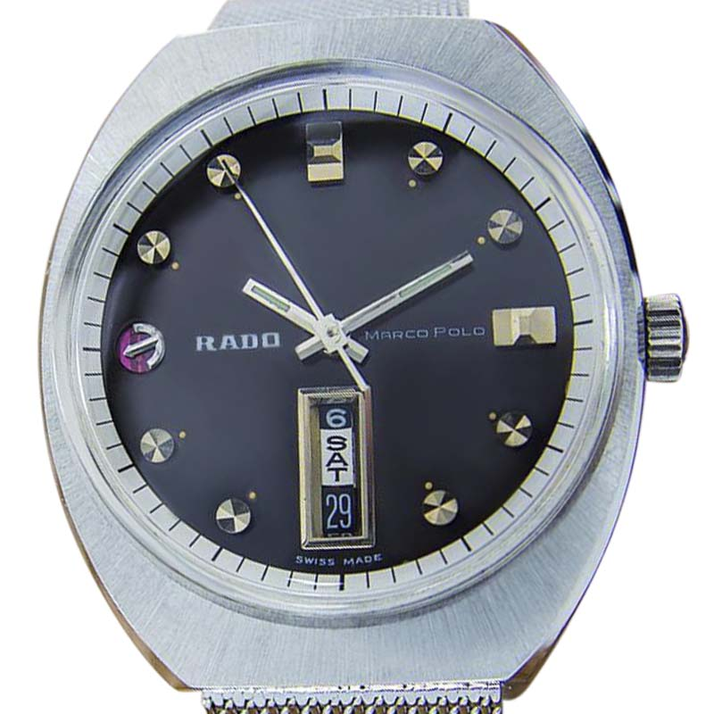 "Image of ""Rado Marco Polo Stainless Steel Automatic Vintage 35mm Mens Watch"""
