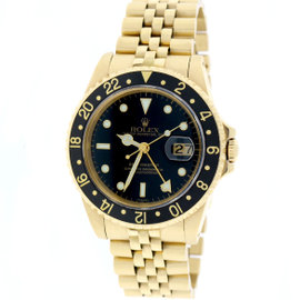 Rolex GMT-Master 16758 18K Yellow Gold & Black Dial 40mm Mens Watch