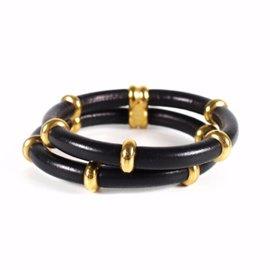 Chanel Gold Tone Hardware Black Leather Multistrand Bangle Cuff Bracelet