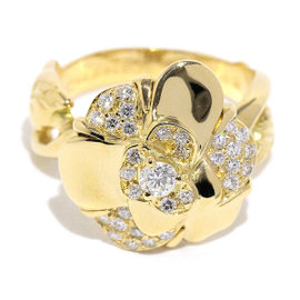 Chanel 750 18K Yellow Gold Camelia Diamond Ring Size 6.5~6.75