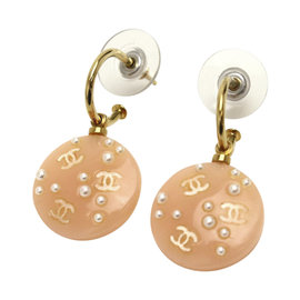 Chanel Orange Plastic Faux Pearl Dangle Earrings