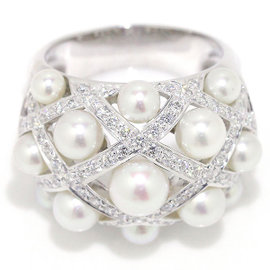 Chanel 18K White Gold Baroque Pearl Diamond Ring Size 7.5