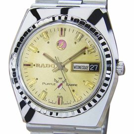 Rado Purple Sabre Stainless Steel Automatic 35mm Mens Watch 1960s
