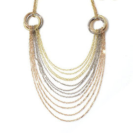 Cartier 18K Yellow White & Rose Gold Trinity Drape Necklace