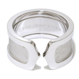 Cartier 18K White Gold 2C Ring Size 5.75