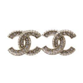 Chanel Gold Tone Rhinestone Pierce Earrings