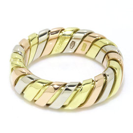 bulgari tubogas 18k yellow white u0026 rose gold ring size 375