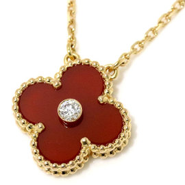 Van Cleef Arpels Vintage Alhambra 18K Pink Gold Carnelian Diamond Necklace