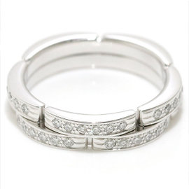 Cartier Maillon Panthere 18K White Gold 2 Half Diamond Ring Size 4.5