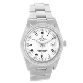 Rolex Date 15200 Stainless Steel & White Roman Dial 34mm Mens Watch