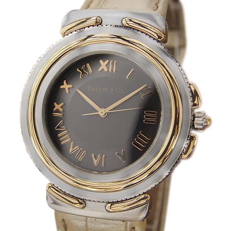 """Image of """"Tiffany & Co. Intaglio 18K Gold and Stainless Steel / Leather 35mm"""""""