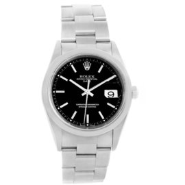 Rolex Date 15200 Stainless Steel & Black Dial 34mm Mens Watch