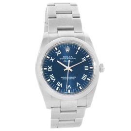 Rolex Air King 114200 Stainless Steel & Blue Roman Dial 34mm Mens Watch