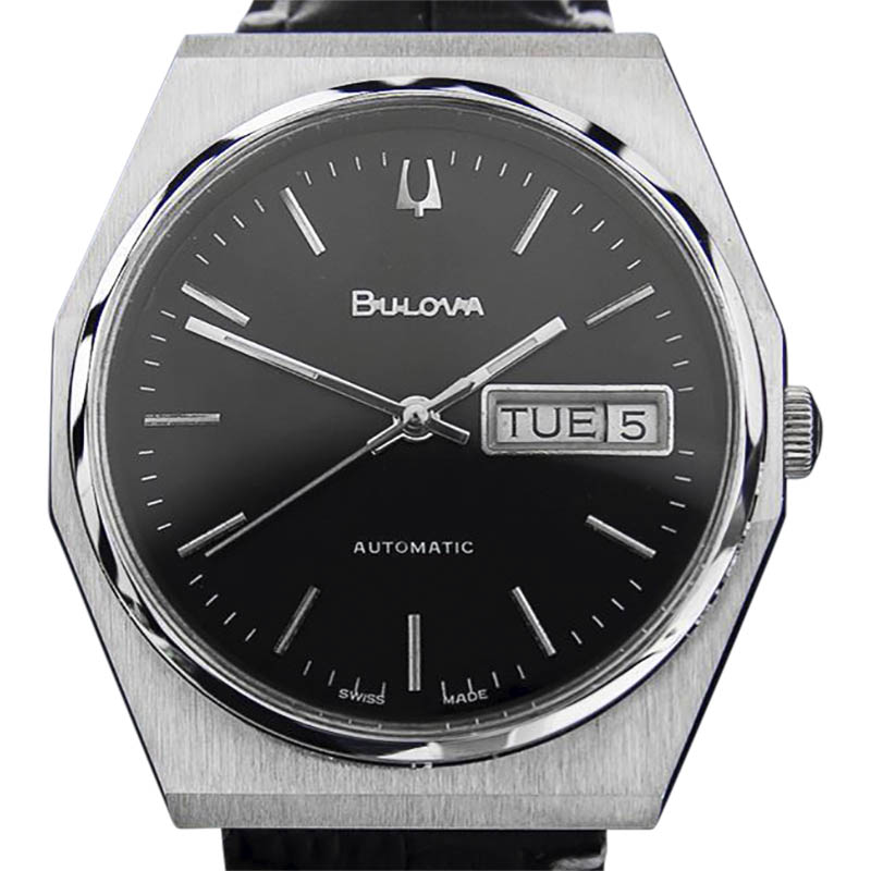 """Image of """"Bulova Stainless Steel / Leather Automatic Vintage 35mm Mens Watch"""""""