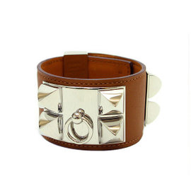 Hermes Collier de Chien Silver Tone Metal Brown Leather Bracelet