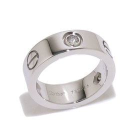 Cartier Love 18K White Gold & Diamond Ring Size 3.75