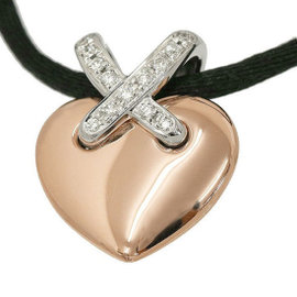 Chaumet 18K Rose & White Gold Diamond Liens Heart Necklace
