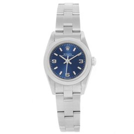 Rolex Oyster Perpetual 76080 Stainless Steel Blue Dial 24mm Womens Watch