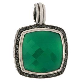 David Yurman 925 Sterling Silver Green Onyx Diamond Albion Pendant