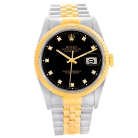 Rolex Datejust 16233 Stainless Steel & Yellow Gold Diamond Dial 36mm Unisex Watch