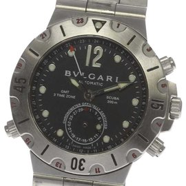 Bulgari Diagono Scuba SD38S Stainless Steel GMT Black Dial Automatic Mens Watch