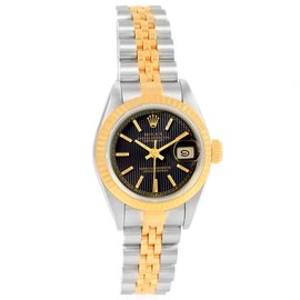Rolex Datejust 69173 Stainless Steel Yellow Gold Black Tapestry Dial 26mm Womens Watch