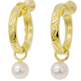 Mikimoto 18K Yellow Gold Akoya Pearl Non-Pierced Hoop Earrings