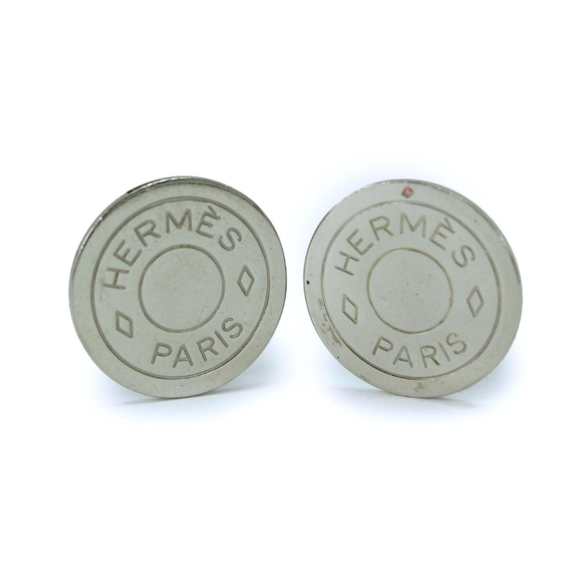 "Image of ""Hermes Silver Tone Metal Earrings"""