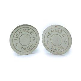 Hermes Silver Tone Metal Earrings