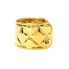 Chanel Matelasse Gold Tone Metal Coco-Mark Bangle Bracelet