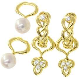 Mikimoto 18K Yellow Gold Akoya Pearl Diamond Charm Earrings