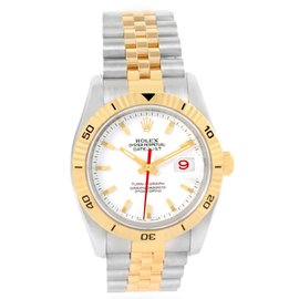 Rolex Datejust Turnograph 116263 Stainless Steel & Yellow Gold White Dial 36mm Mens Watch