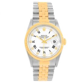 Rolex Datejust 16233 Stainless Steel & Yellow Gold White Diamond Dial 36mm Mens Watch