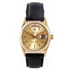 Rolex Day-Date President 18K Yellow Gold / Leather 36mm Mens Watch