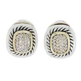 David Yurman Albion 925 Sterling Silver & 18K Yellow Gold 1.00ct. Diamond Earrings