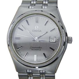 Omega Seamaster Stainless Steel Quartz Mens 37mm Vintage Watch 1980s