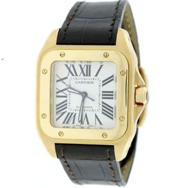 Cartier Santos 100 18K Yellow Gold / Leather 33mm Unisex Watch