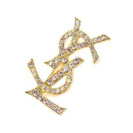 Yves Saint Laurent Gold Tone Rhinestone Logos Brooch