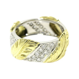 Tiffany & Co. PT950 Platinum 18K Yellow Gold Diamond Leaf Ring Size 5.75