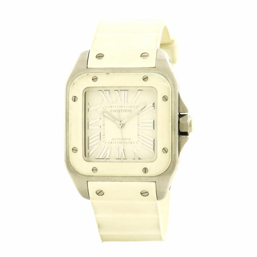 """Image of """"Cartier Santos 100 W20122U2 Stainless Steel & Rubber Automatic 32mm"""""""