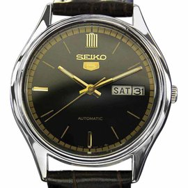Seiko Day Date 5 Automatic Black Leather Stainless Steel 35mm Mens Watch 1970s