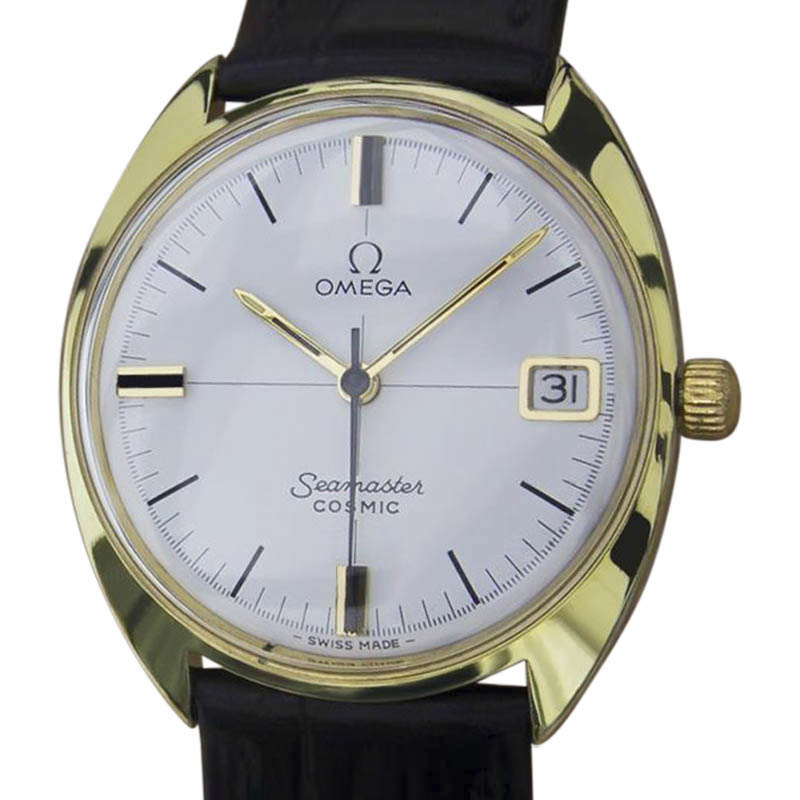 "Image of ""Omega Seamaster Cosmic Gold Plated Swiss Made Manual Mens 33mm Watch"""